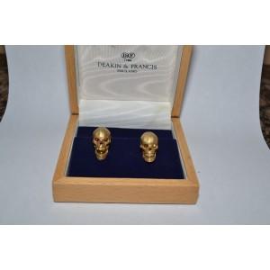 Deakin & Francis 18K Yellow Gold & Ruby Skull Cufflinks