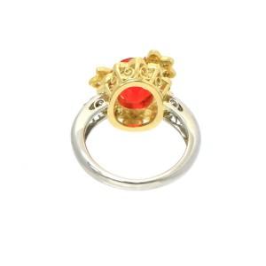 Platinum Fire Opal 18K yellow gold Diamond Ring