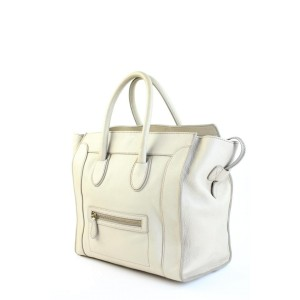 Céline Beige Leather  Mini Luggage Tote Bag  857652