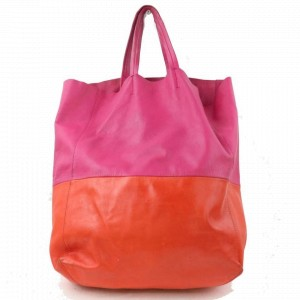 Céline Cabas Two Vertical Bi-cabas 870837 Pink Leather Tote