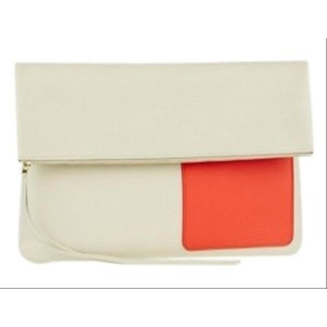 Céline Chalk/Orange Lambskin Fold Over 3cela528 Beige X Orange-res Leather Clutch