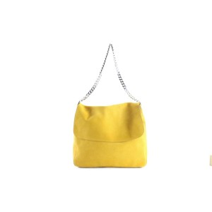 Céline Gourmette Hobo Chain 9cer0613 Mustard Yellow Suede Shoulder Bag