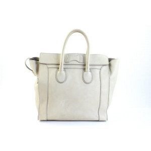 Céline Luggage Mini 7cety72817 White Leather Tote