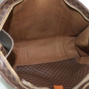 Céline Macadam 872305 Monogram Shopper Tote Brown Coated Canvas Shoulder Bag