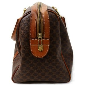 Céline Macadam Boston 872097 Monogam Brown Coated Canvas Satchel