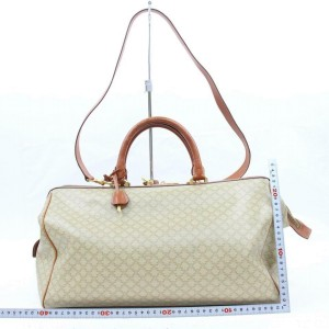 Céline Macadam Boston Duffle Monogram with Strap 870708 Beige Canvas Weekend/Travel Bag