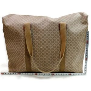 Céline Macadam Large Monogram Zip Tote 871786 Beige Coated Canvas Weekend/Travel Bag