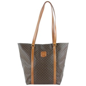 Céline Macadam Monogram Shopper Tote 10cez0921 Brown Coated Canvas Shoulder Bag