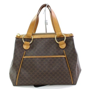 Céline Macadam Monogram Tote 867027 Brown Coated Canvas Satchel