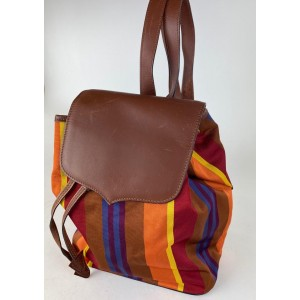 Céline Striped Multicolor 3cel61 Brown Canvas X Leather Backpack