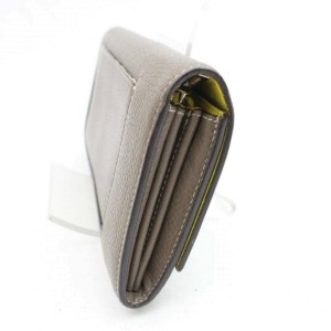 Céline Taupe Bicolor Grey-taupe Yellow Bifold Snap Large Long Flap 870980 Wallet