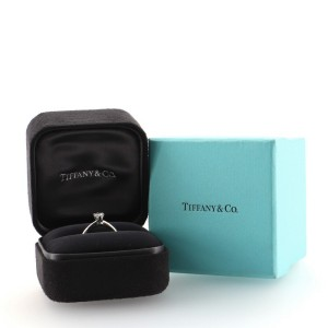 Tiffany & Co. Solitaire Ring Platinum with RBC Diamond I/IF 0.33 CT 5.5