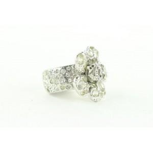 Chanel 05v Camellia Flower Ring Silver Crystal 485cas64