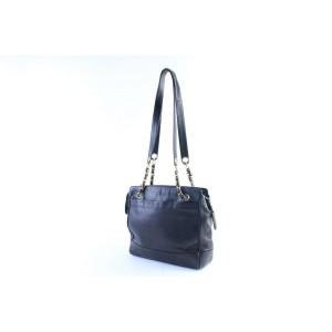 Chanel Black Caviar Leather Triple CC Chain Tote Bag 220858