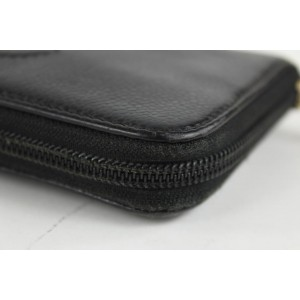 Chanel Black Caviar Leather CC Logo L-Gusset Zip Around Wallet 21ccs1223