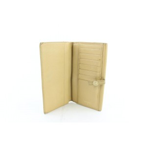 Chanel Button Line Long Bifold Flap Wallet 228718 Beige Leather Clutch