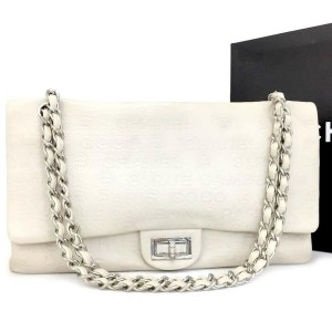 Chanel 2.55 Reissue Double Flap Cambon Embossed Ivory 31 Rue Jumbo Classic 870540 Off-white Leather Shoulder Bag