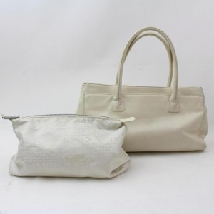 Chanel 2.55 Reissue Cerf Ivory Caviar Executive 869763 White Leather Tote