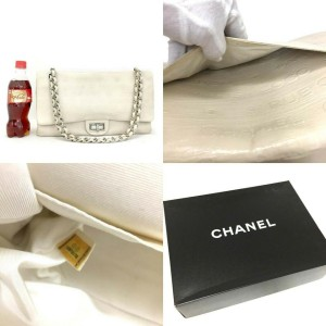 Chanel Embossed Ivory 2.55 31 Rue Cambon Maxi Classic Double Flap SHW 870540