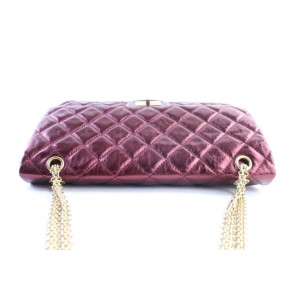 Chanel 2.55 Reissue Jumbo Bordeaux 227 Flap 11cr0522 Metallic Burgundy Quilted Leather Shoulder Bag