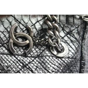 Chanel Iridescent Metallic Silver Python Bowler Chain Boston Bag 671cas318