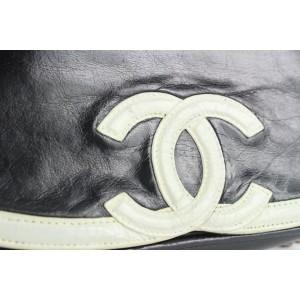 Chanel Black x White Bicolor CC Logo Flap Chain Bag Crossbody 706cas323