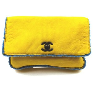 Chanel Yellow Shearling Mouton CC Turnlock Classic Flap Clutch Bag  863046