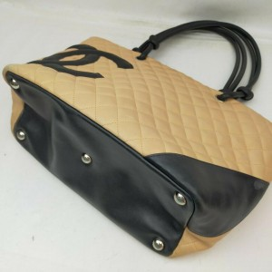 Chanel Beige Quilted Leather Cambon Tote Bag 863269