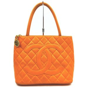 Chanel Quilted Orange Caviar Medallion Tote Bag 862680