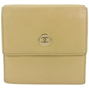 Chanel  Beige Calfskin Leather CC Button Line Compact Trifold Wallet 790ccs42