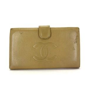 Chanel Beige Caviar Cc Logo Long Bifold 217230 Wallet