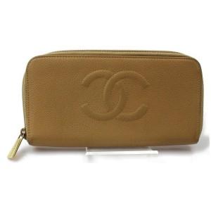 Chanel Beige Caviar CC Logo Zip Around L-Gusset Zippy Wallet 871787