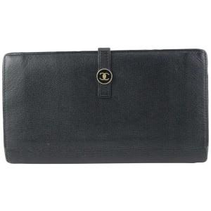 Chanel Calfskin Button Line CC Logo Long Flap Wallet 124cas76