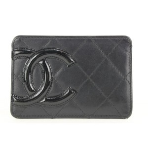 Chanel Black Quilted Lambskin Cambon Ligne Card Holder Wallet 252ccs212