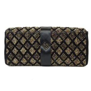 Chanel Black Clutch Quilted Ribbon Flap 220165 Wallet