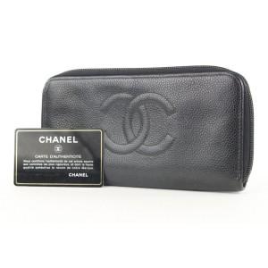Chanel Black Caviar CC Logo Zip Around Continental Wallet L Gusset 290cas513