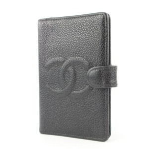 Chanel Small Black Caviar Leather Agenda Diary Cover 8620613A