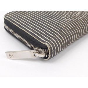 Chanel Black X White Zippy Striped Cc Logo Zip Around L-gusset 235935 Wallet