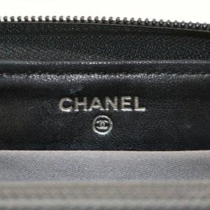 Chanel Black Embossed Patent Charm Zippy Wallet Long Zip Around 862355