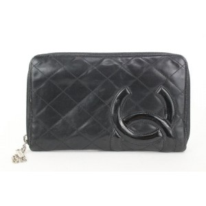 Chanel Black Quilted Leather Cambon Line Zippy Organizer Wallet  862616
