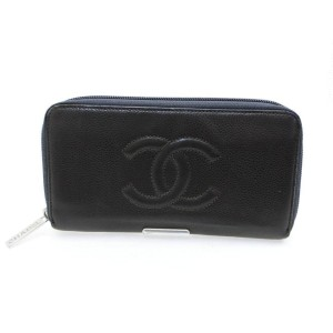 Chanel Black/Grey L Charcoal Caviar Timeless L-gusset Zip 226745 Wallet