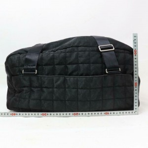 Chanel Bowling Bag Duffle Quilted Sports Boston 870838 Black Nylon Tote