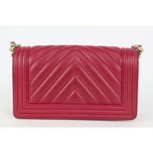 Chanel Dark Pink Fuschia Chevron Quilted Lambskin Medium Boy Bag Gold 53ca723