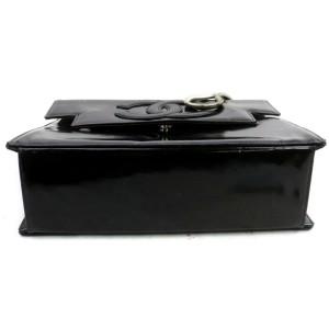 Chanel Brick Classic Cc Logo Silver Chain Flap 872678 Black Enamel Shoulder Bag