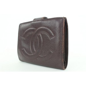 Chanel Burgundy Caviar Leather CC Wallet 6ccs111