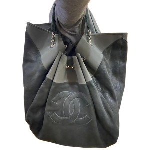 Chanel Cabas Stretch Spirit Extra Large 11ca61 Black Suede Leather Hobo Bag