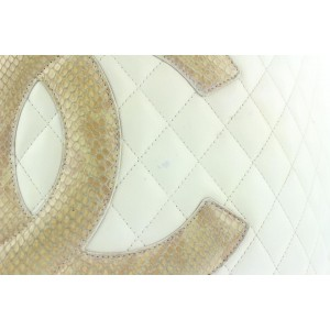 Chanel Quilted White Leather Cambon Ligne Python Tote bag  567cks311