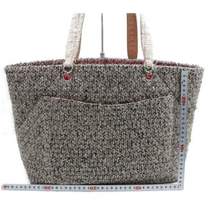 Chanel Cambon Ligne Cc Logo Shopper 872698 Grey Tweed Tote