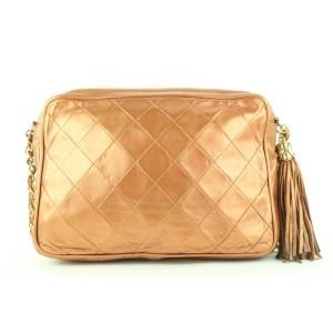 Chanel  Quilted Copper Lambskin Fringe Tassel Camera Crossbody Bag 563cks311
