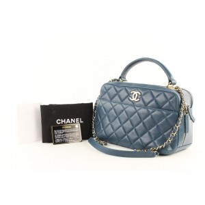 Chanel Camera Bag Quilted Lambskin Small Trendy Cc Bowling 2way 2ce0109 Blue Leather Satchel
